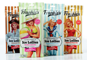 Brand extension for Frankie's - from soft drinks to ice lollies